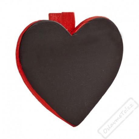 Dekorační kolíček s tabulkou Srdce červené