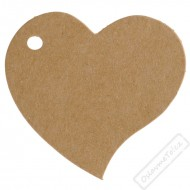 Papírové jmenovky Srdce přírodní