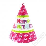 Papírové party kloboučky Pink Star