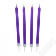 Barevné svíčky na dort fialové