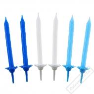 Dortové svíčky se stojánky Blue