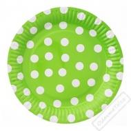 Papírové party talíře s puntíky velké zelené