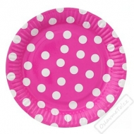 Papírové party talíře s puntíky velké fuchsiové
