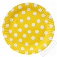 Papírové party talíře s puntíky velké žluté