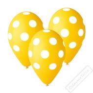 Latexový balónek s puntíky žlutý