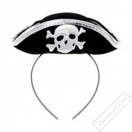 Pirátský mini klobouček na čelence