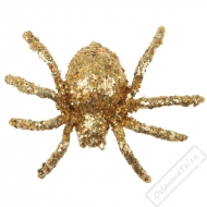 Dekorační glitrový pavouk zlatý