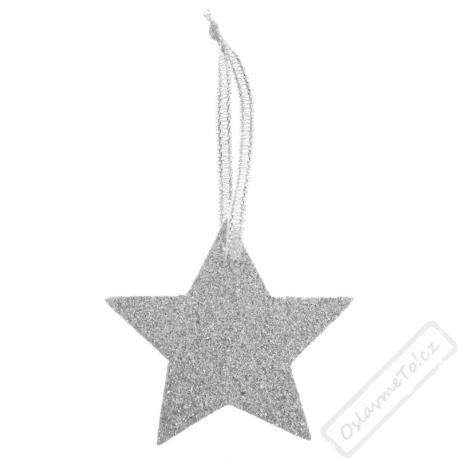 Vánoční jmenovky Hvězdy Glitter stříbrné