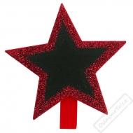 Dekorační kolíček s tabulkou Hvězda červená