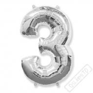 Nafukovací balón číslo 3 stříbrný 95cm