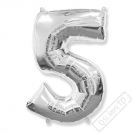 Nafukovací balón číslo 5 stříbrný 95cm