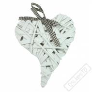 Srdce proutěné bílé