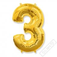 Nafukovací balón číslo 3 zlatý 95cm