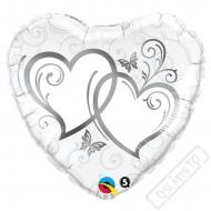 Nafukovací balónek Srdce Elegant Silver 45cm