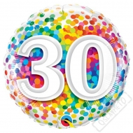 Narozeninový balónek Confetti číslo 30 45cm