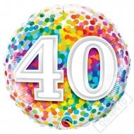 Narozeninový balónek Confetti číslo 40 45cm