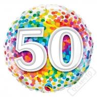 Narozeninový balónek Confetti číslo 50 45cm