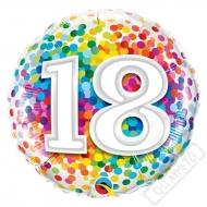 Narozeninový balónek Confetti číslo 18, 45cm
