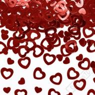 Dekorační konfety na stůl Srdce červená