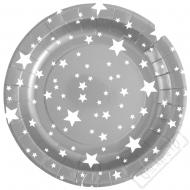 Papírové party talíře Star stříbrné