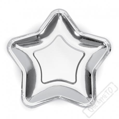 Papírové party talíře Hvězda stříbrná