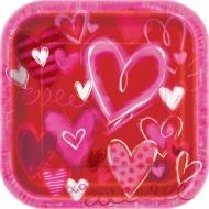 Papírové čtvercové talíře Valentine