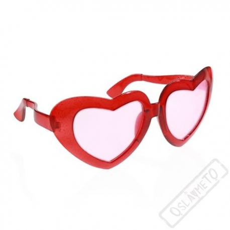Jumbo party brýle srdce červené