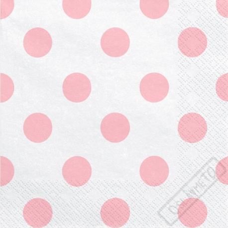 Papírové ubrousky s puntíky růžové