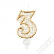 Narozeninová svíčka Glitter Gold číslo 3