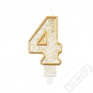 Narozeninová svíčka Glitter Gold číslo 4
