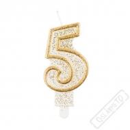 Narozeninová svíčka Glitter Gold číslo 5