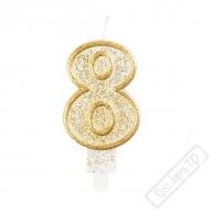 Narozeninová svíčka Glitter Gold číslo 8