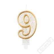 Narozeninová svíčka Glitter Gold číslo 9
