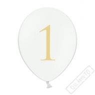 Nafukovací balónek latexový s číslem 1 bílý