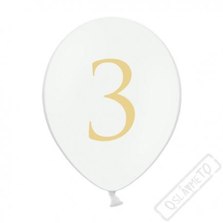 Nafukovací balónek latexový s číslem 3 bílý