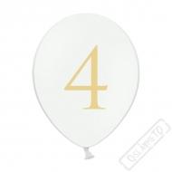 Nafukovací balónek latexový s číslem 4 bílý
