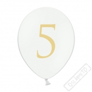 Nafukovací balónek latexový s číslem 5 bílý
