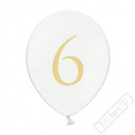 Nafukovací balónek latexový s číslem 6 bílý
