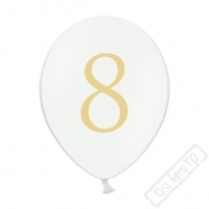 Nafukovací balónek latexový s číslem 8 bílý