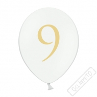 Nafukovací balónek latexový s číslem 9 bílý