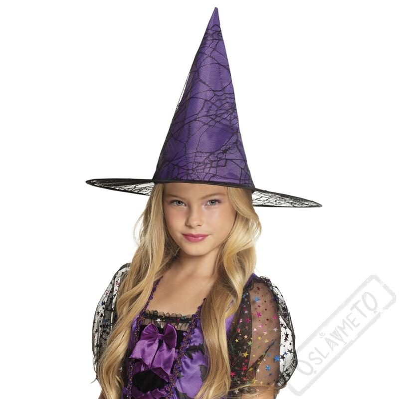 453d602e8e2 Čarodějnický klobouk fialový s pavučinou dětský