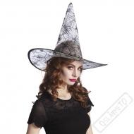 Čarodějnický klobouk bílý s pavučinou
