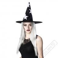Čarodějnický klobouk s hvězdami a bílými vlasy