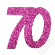 Glitrová dekorace číslo 70 růžová