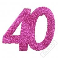 Glitrová dekorace číslo 40 růžová
