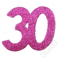 Glitrová dekorace číslo 30 růžová