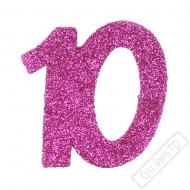 Glitrová dekorace číslo 10 růžová
