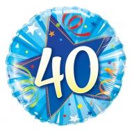 Narozeninový balónek Star 40 modrý, 45cm