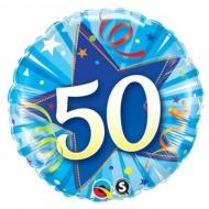 Narozeninový balónek Star 50 modrý, 45cm