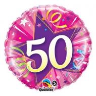 Narozeninový balónek Star 50 růžový, 45cm